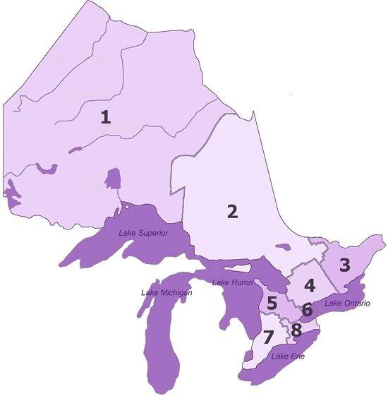 map of Ontario broken into regions