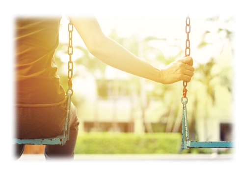 woman holding empty swing