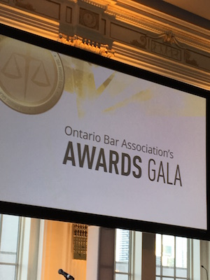 Ontario Bar Association Awards Gala signage