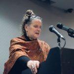 Pam Cross giving her Guthrie Award speech
