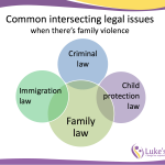 Common intersecting legal issues when there's family violence: Family law, criminal law, immigration law, child protection