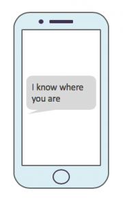 Tech abuse - I know where you are text on a phone