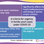 4 criteria for urgency in family court under COVID-19 - immediacy, significant impact to health/well-being, definite not theoretical, evidence