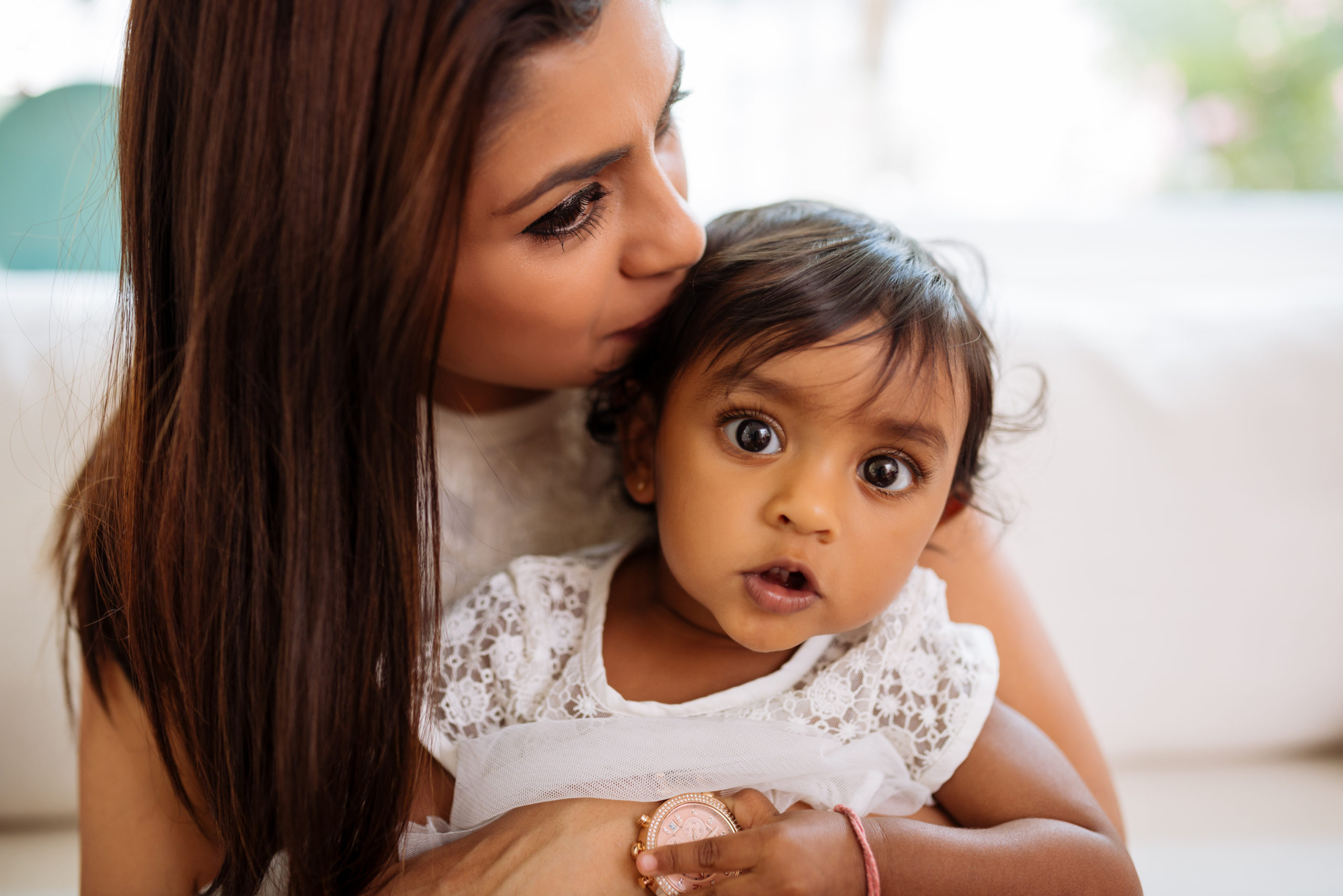 South Asian mom and toddler daughter