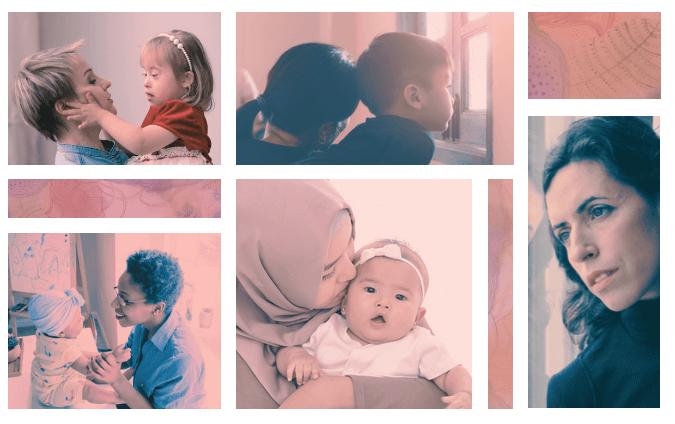 diverse women, some with their children