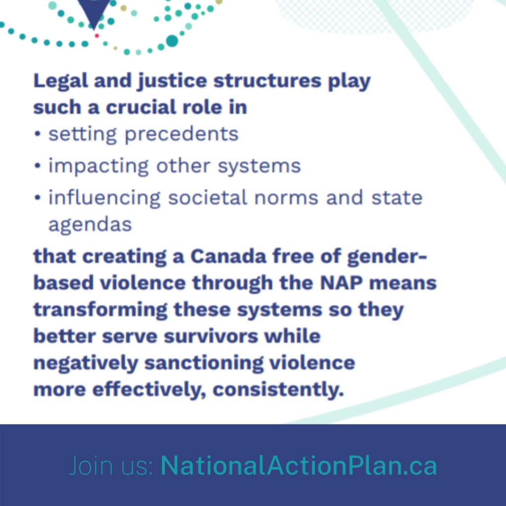 Legal and justice structures play such a crucial role in setting precedents, impacting other systems, and influencing societal norms and state agendas that creating a Canada free of gender based violence through the NAP means transforming these systems so they better serve survivors while negatively sanctioning violence more effectively, consistently.